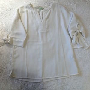 Jade White 3/4 length sleeve with ties blouse